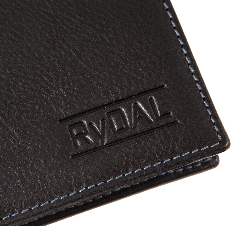Solaia Mens Leather Wallet with Coin Pocket from Rydal in 'Black/Royal Blue' showing close up of logo.