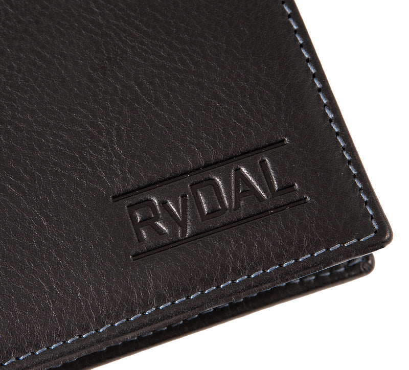 Solaia Mens Leather Wallet from Rydal in 'Black/Royal Blue' showing close up of logo.