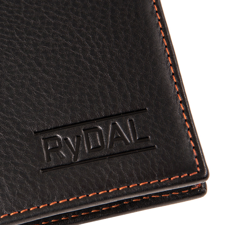 Solaia Mens Leather Wallet with Coin Pocket from Rydal in 'Black/Rust' showing close up of logo.