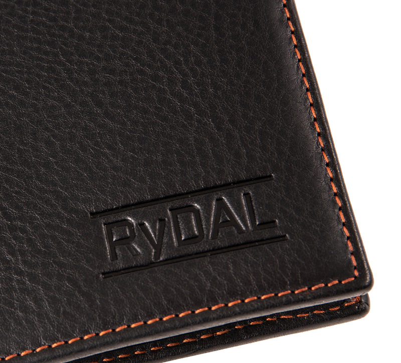 Solaia Mens Leather Wallet from Rydal in 'Black/Rust' showing close up of logo.