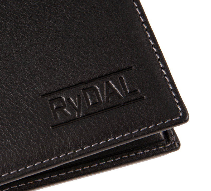 Solaia Mens Leather Wallet with Coin Pocket from Rydal in 'Black' showing close up of logo.