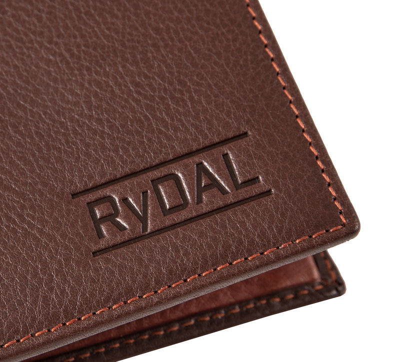 Solaia Mens Leather Wallet with Coin Pocket from Rydal in 'Dark Brown/Rust' showing close up of logo.