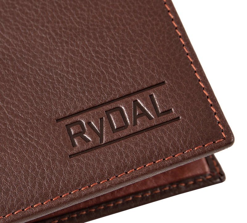 Solaia Mens Leather Wallet from Rydal in 'Dark Brown/Rust' showing close up of logo.