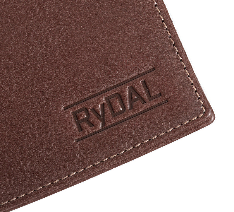 Solaia Mens Leather Wallet with Coin Pocket from Rydal in 'Dark Brown' showing close up of logo.