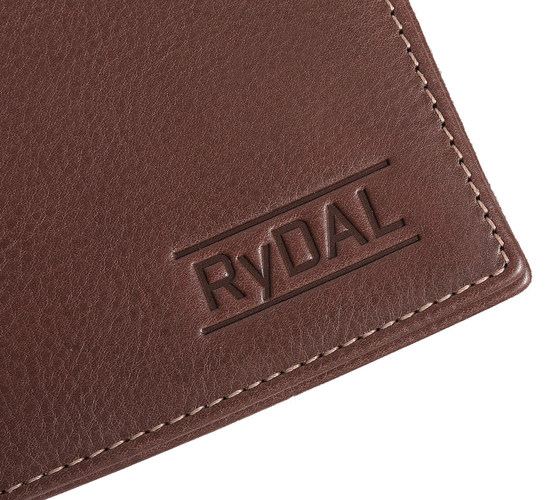 Solaia Mens Leather Wallet from Rydal in 'Dark Brown' showing close up of logo.