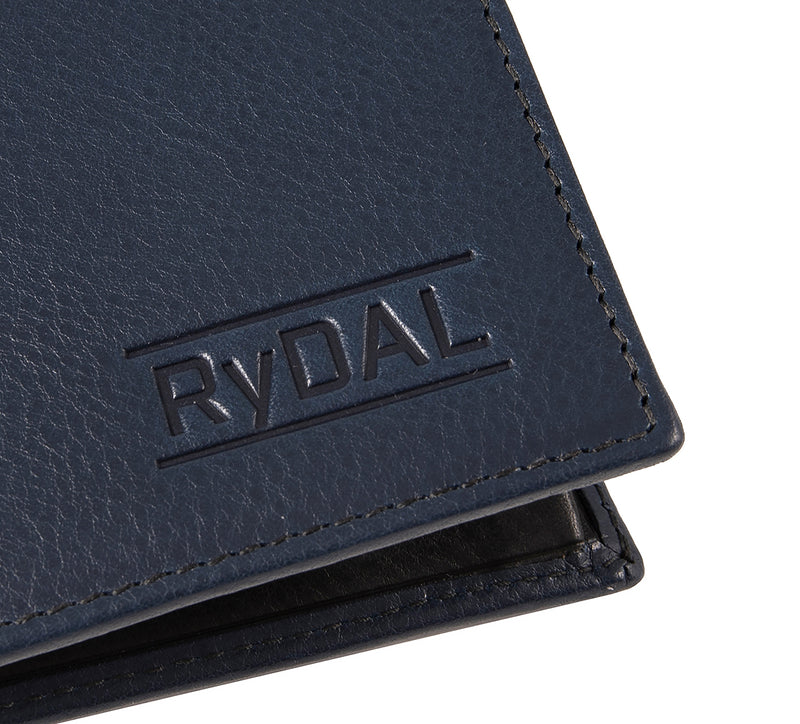 Solaia Mens Leather Wallet with Coin Pocket from Rydal in 'Royal Blue/Black' showing close up of logo.
