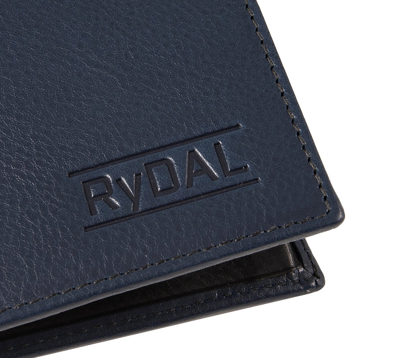 Solaia Mens Leather Wallet from Rydal in 'Royal Blue/Black' showing close up of logo.