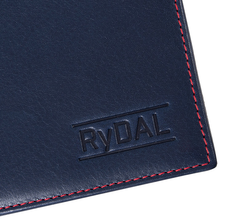 Solaia Mens Leather Wallet with Coin Pocket from Rydal in 'Royal Blue/Red' showing close up of logo.