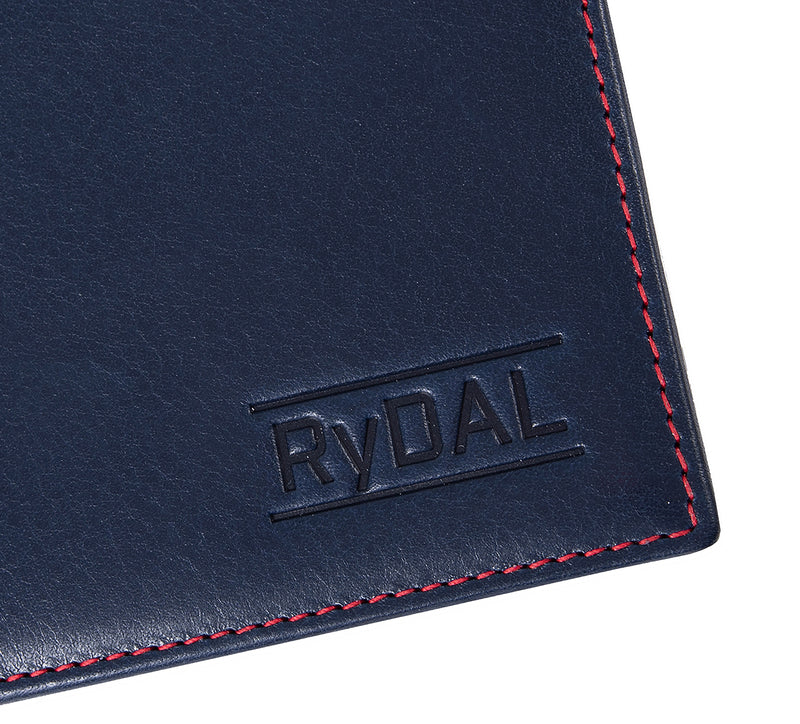 Solaia Men Leather Wallet from Rydal in 'Royal Blue/Red' showing close up of logo.