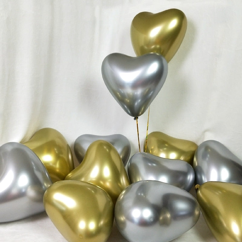 Chrome Heart Shaped Latex Balloons - Magic Balloons