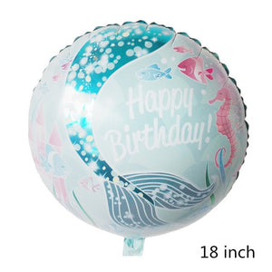 Mermaid Birthday Theme Foil Balloon - Magic Balloons