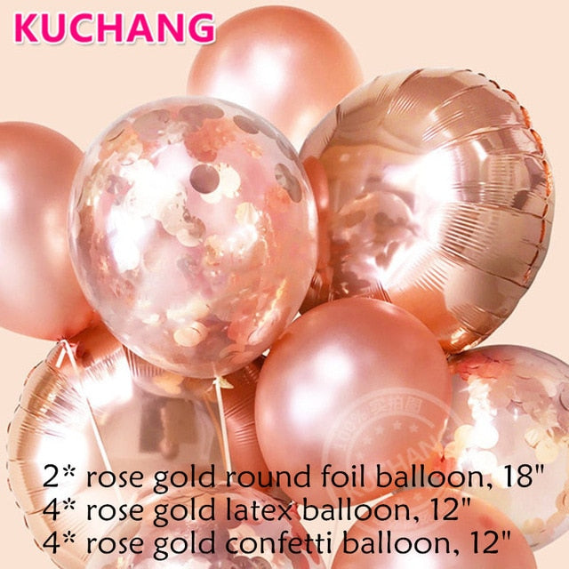 Rose Gold Metallic Latex / Foil / Confetti Balloons - Magic Balloons
