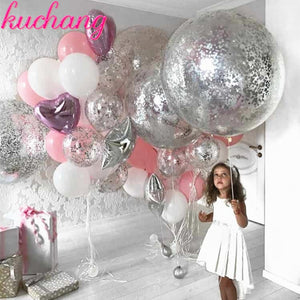 Sliver and Pink Balloon Set Package - Magic Balloons