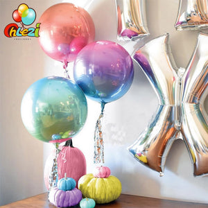 Large Chrome Multicolour Orbz Balloons - Magic Balloons
