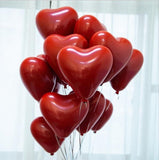 Ruby Red 10 inch Heart-shaped Latex Balloon Wedding Room Layout Decoration Thickened Double-decker Pomegranate Red Balloons - Magic Balloons