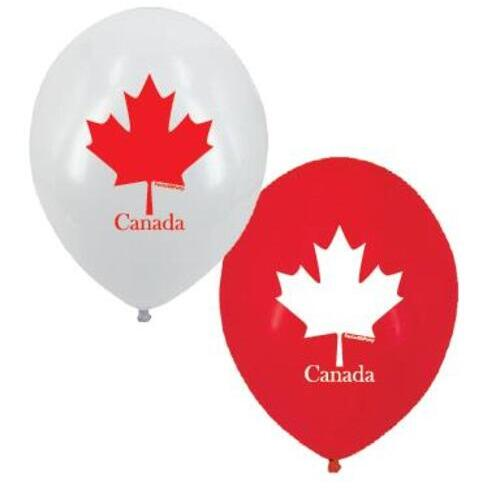 BALLOON LATEX PRINTED 12in 10pcs MAPLE LEAF
