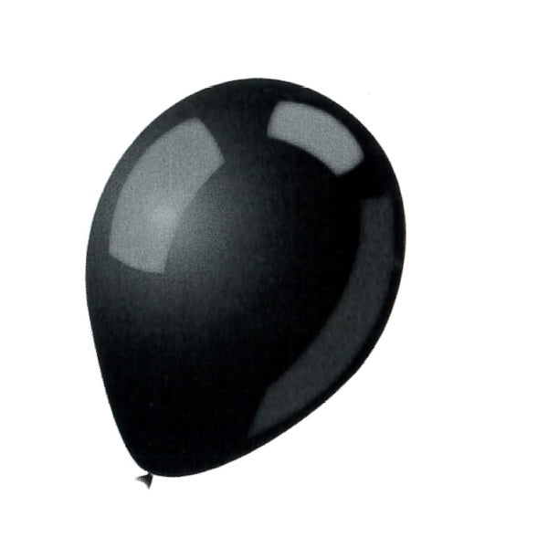 BALLOON LATEX COLOR 9in 25pcs Black