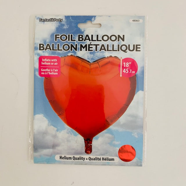 BALLOON FOIL SHAPED HEART 18in RED
