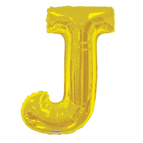 BALLOON FOIL LETTER 34in Gold J