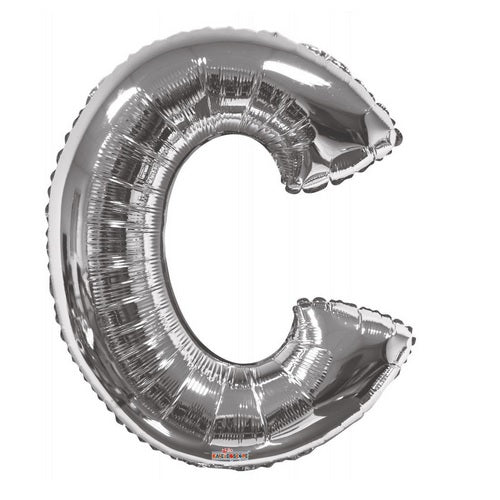BALLOON FOIL LETTER 34in Silver C