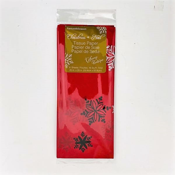 CMAS TISSUE 6PCS RED SNOWFLAKES 20inx20in