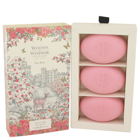 True Rose Three 2.1 oz Luxury Soaps By Woods of Windsor