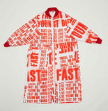 Oversized Red Typo Print Padded Jacket