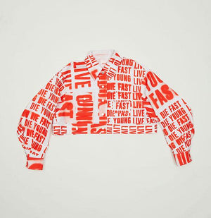 Cropped Red Typo Print Jacket