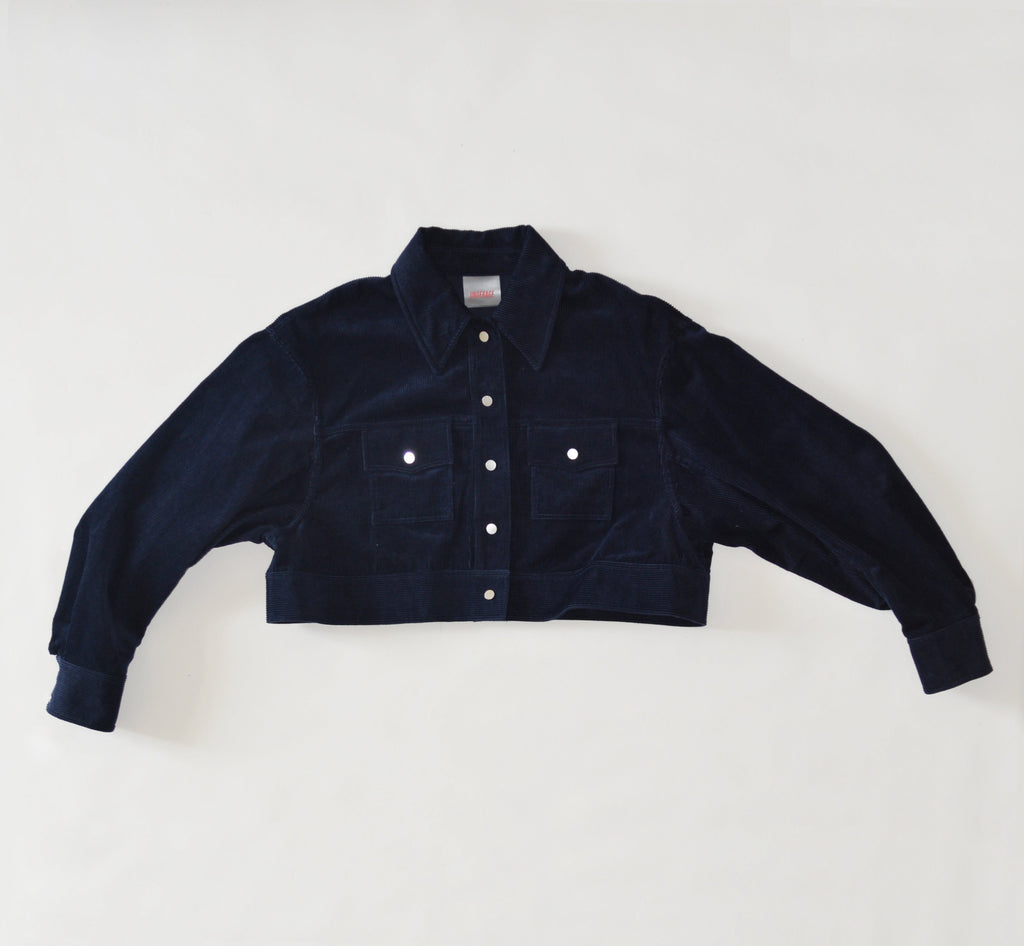 Cropped Navy Cordury Jacket