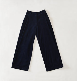 Flared Navy Cordury Pants