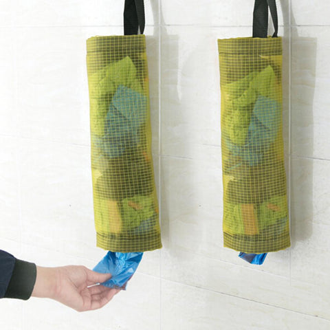 Reusable Mesh Wall Mounted Hanging Kitchen Trash Bag Dispenser