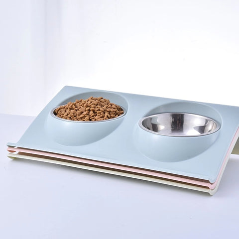 New Tilted Stainless Steel Plastic Pet Food Water Double Feeder Bowl