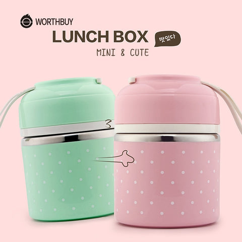 Portable Leak-Proof Stainless Steel Round Thermal Lunch Bento Box