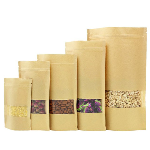 10 pcs Recyclable Kraft Paper Gift Candy Shopping Bag with Zip Lock
