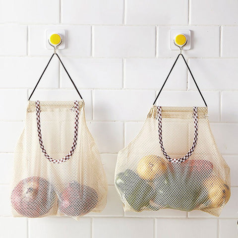 Reusable Hanging Mesh Bath Organizer Fruit Vegetable Storage Bag