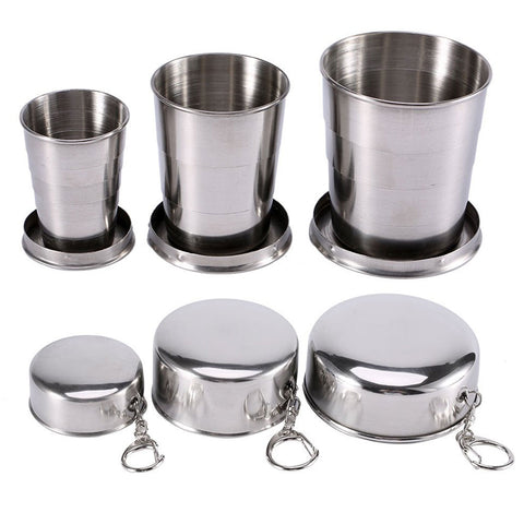 60ml 150ml 250ml Stainless Steel Camping Collapsible Folding Cup