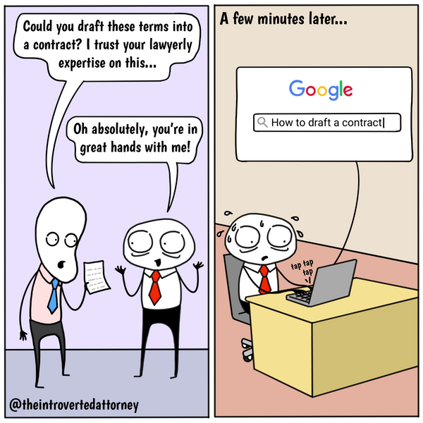 How to draft a legal contract funny lawyer comic by introverted attorney