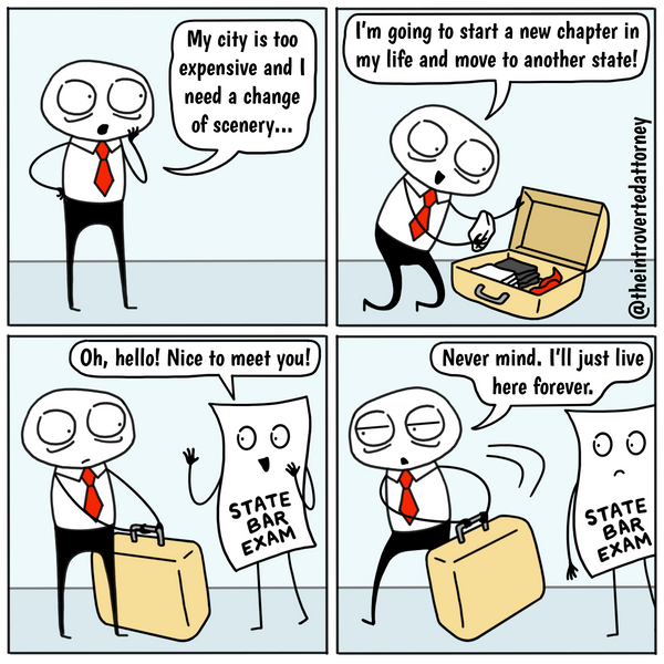 Moving Out of State Bar Exam Funny Lawyer Comics