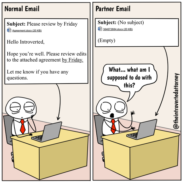Law Firm Partner Emails Funny Attorney Comic