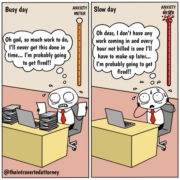 Funny lawyer comic about the difference between busy vs. slow day at the office