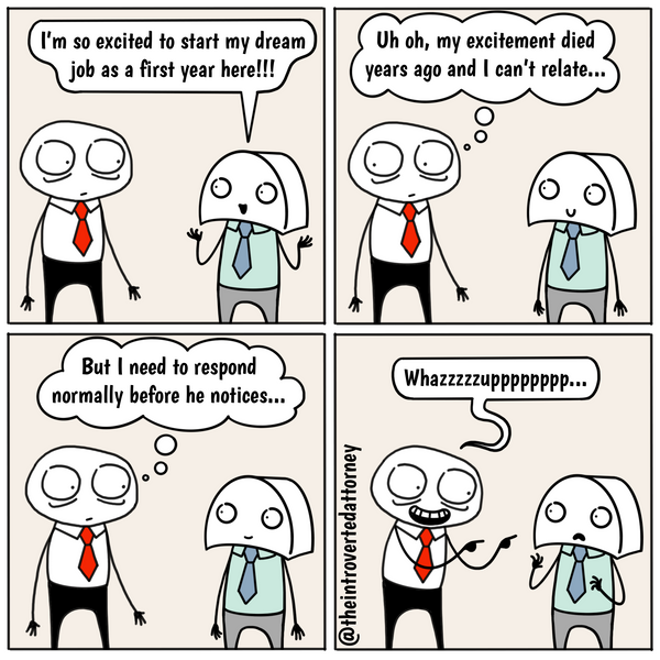 Funny and relatable comic for the lawyer who knows how difficult it is to match the excitement level of new hires joining the firm. Visit The Introverted Attorney for humorous and sarcastic lawyer comics, content, and gifts.