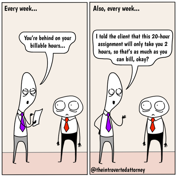 Funny and relatable comic for the lawyer who has to deal with the mixed messaging of billing time at a law firm.. Visit The Introverted Attorney for humorous and sarcastic lawyer comics, content, and gifts.
