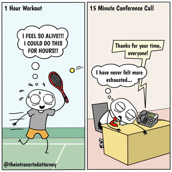 Funny and relatable comic for the lawyer who feels more exhaustion from being on conference calls than from physical exercise. Visit The Introverted Attorney for humorous and sarcastic lawyer comics, content, and gifts.