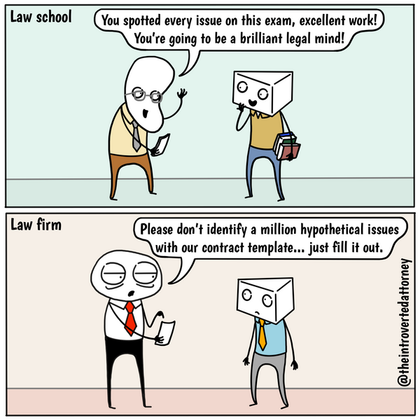 Funny and relatable comic for the lawyer who realizes that what you learn in law school is not very helpful for practicing at a law firm.. Visit The Introverted Attorney for humorous and sarcastic lawyer comics, content, and gifts.