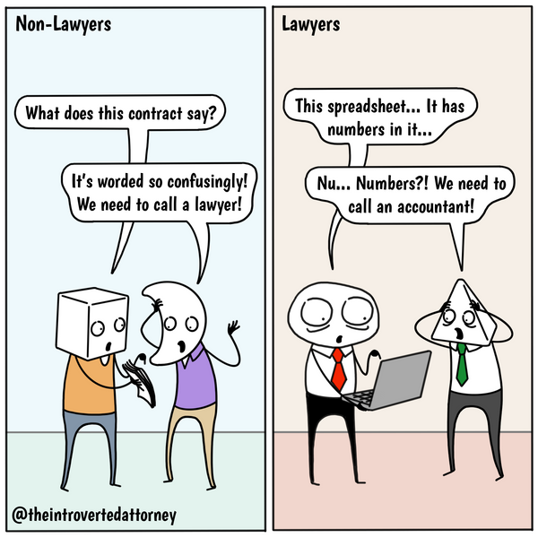 Funny and relatable comic for the lawyer who is intimidated by numbers. Visit The Introverted Attorney for humorous and sarcastic lawyer comics, content, and gifts.