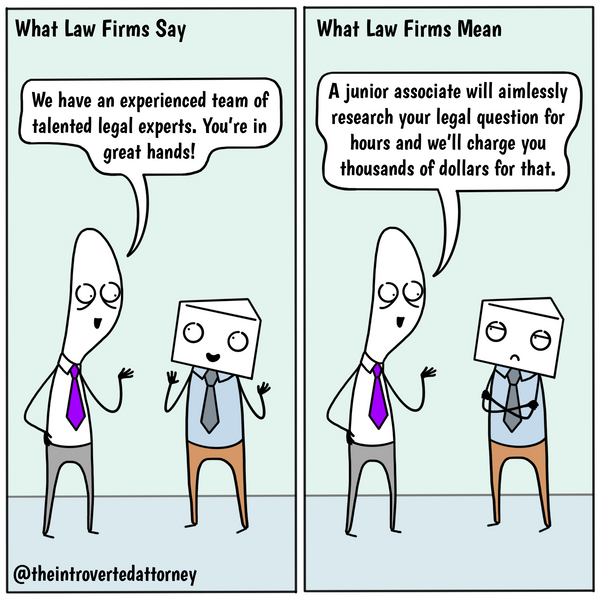 Funny and relatable comic for the lawyer who knows the disconnect between how law firms present themselves to clients and what's happening behind the scenes.. Visit The Introverted Attorney for humorous and sarcastic lawyer comics, content, and gifts.