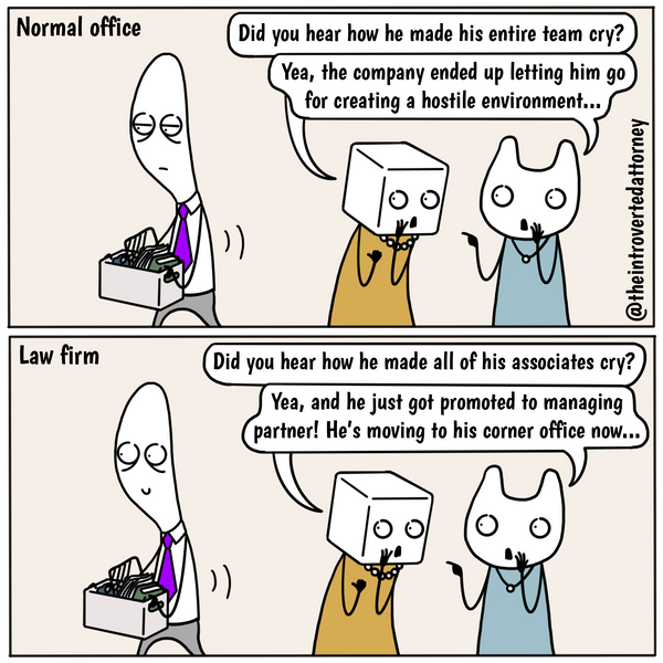 Funny and relatable comic for the lawyer who have noticed that law firms have an appreciation for certain qualities in their employees that are normal companies typically avoid. Visit The Introverted Attorney for humorous and sarcastic lawyer comics, content, and gifts.