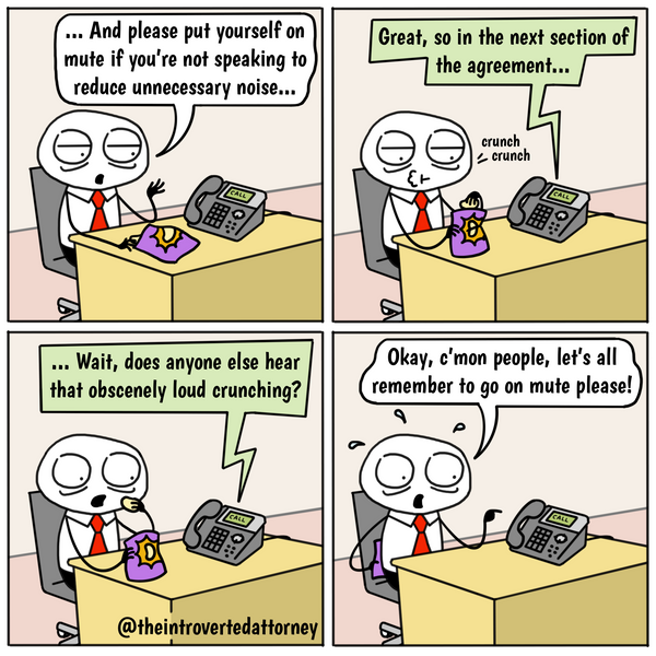 Funny and relatable comic for the lawyer who knows what it's like to accidentally be off-mute and disrupt a call.. Visit The Introverted Attorney for humorous and sarcastic lawyer comics, content, and gifts.
