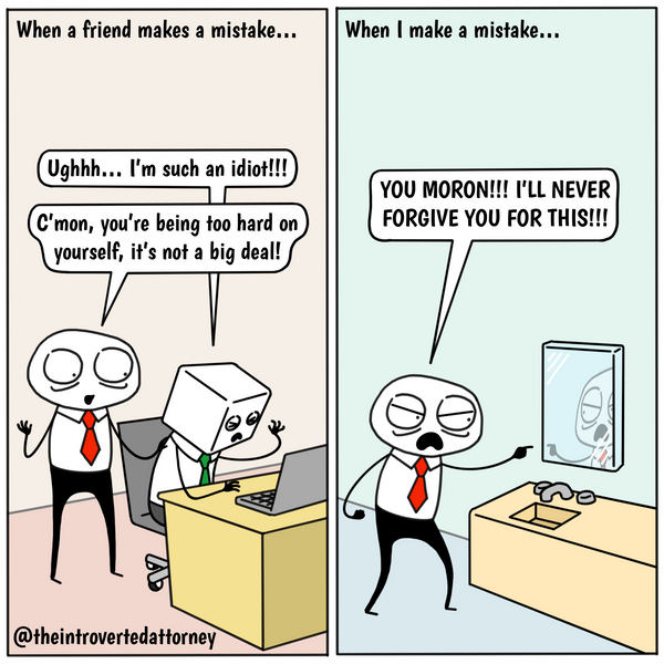 Funny and relatable comic for the lawyer who is a harsher critic to him or herself than his or her friends. Visit The Introverted Attorney for humorous and sarcastic lawyer comics, content, and gifts.