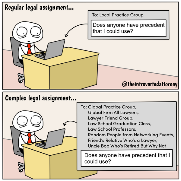 Funny and relatable comic for the lawyer who knows how to tap into his or her network to answer the tough legal questions. Visit The Introverted Attorney for humorous and sarcastic lawyer comics, content, and gifts.